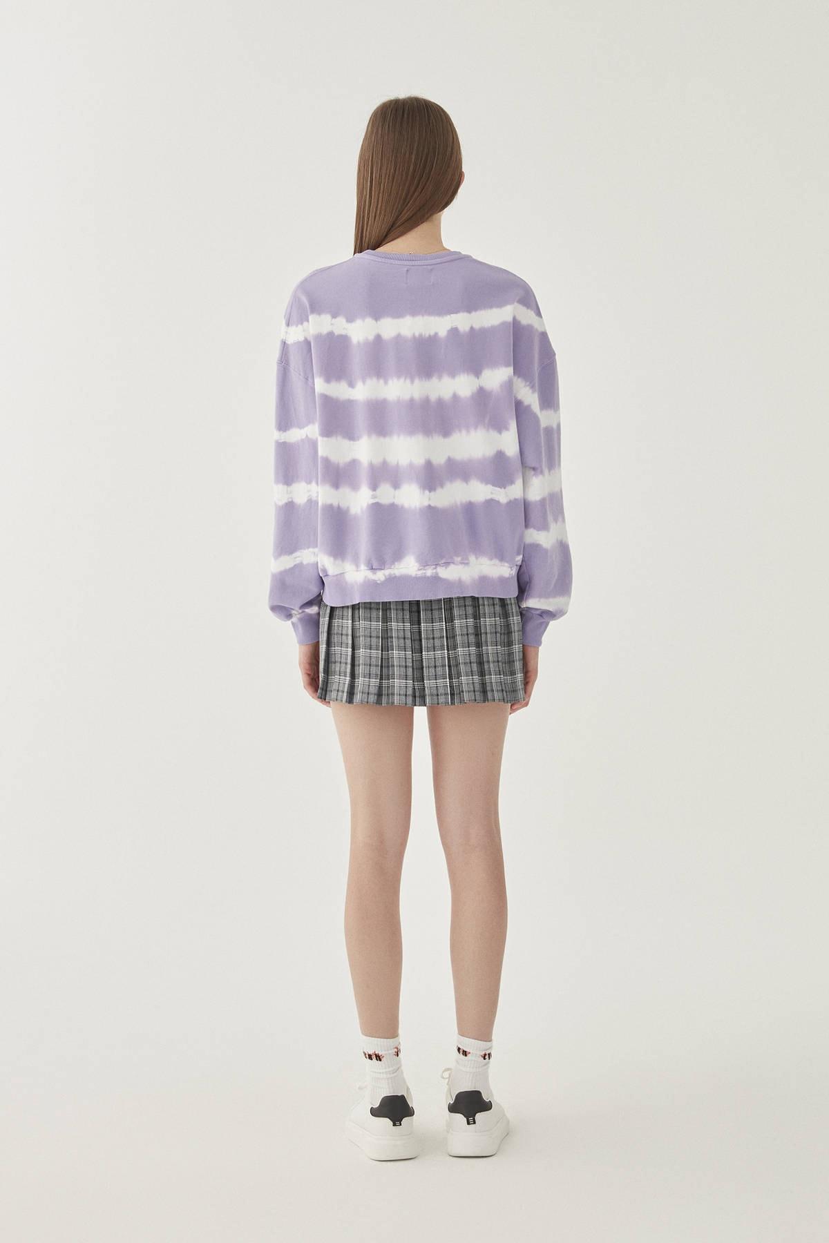 Pull & Bear Kadın Lila Ay İşlemeli Mor Batik Sweatshirt 09594314 3