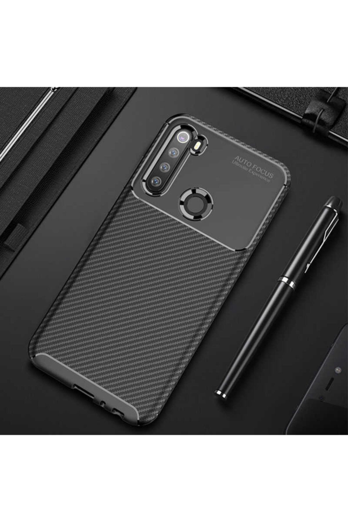 Fibaks Xiaomi Redmi Note 8 Kılıf Rugged Armor Negro Karbon Silikon