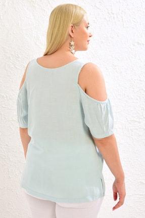 LC Waikiki Kadın Açık Mavi Bluz 0WCD75Z8 4