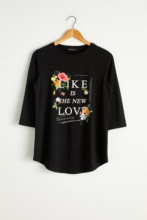 LC Waikiki Kadın Yeni Siyah Tişört 0WAG67Z8 2