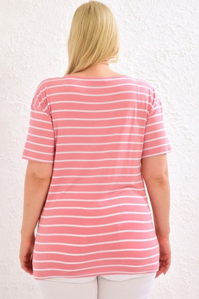 LC Waikiki Kadın Pembe Çizgili Tişört 0WCC58Z8 3