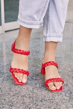 Sateen Kadın Kırmızı Cilt Örgü Bantlı Topuklu Terlik 0