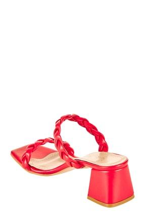 Sateen Kadın Kırmızı Cilt Örgü Bantlı Topuklu Terlik 4