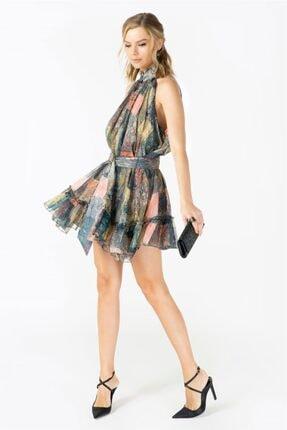 VorNişantaşı Tasarım Kuşaklı Patchwork Desenli Ipek Mini Elbise 3