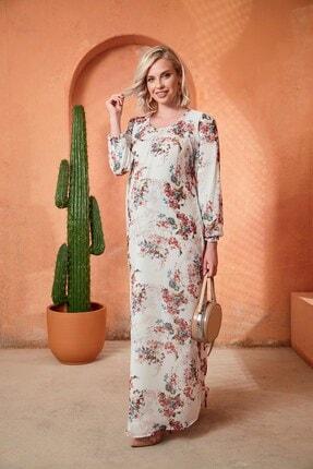 Kadın Beyaz Çiçek Detaylı Uzun Hamile Elbise O7009