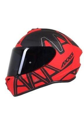 AXXIS Dekers Mat Kırmızı Kapalı Kask 0