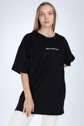 Millionaire Kadın Siyah Stay Antisocial Baskılı Oversize T-shirt 1