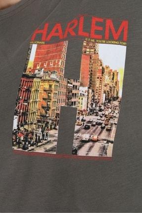 Millionaire Kadın Haki Harlem Baskılı Oversize T-shirt 3