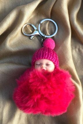 Novon Giyim & Aksesuar Peluş Sevimli Bebek Fuşya Anahtarlık, Çanta Süsü 0