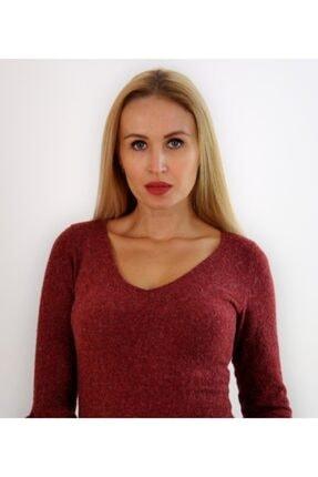 Md1 Collection Kadın  Volanlı V Yaka Esnek Triko Bordo Elbise 2