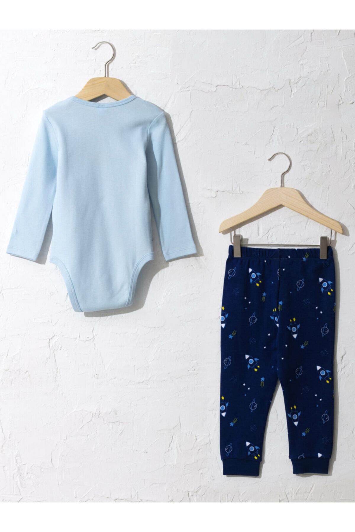 LC Waikiki Erkek Mavi Pijama Takımı 0WEY04Z1