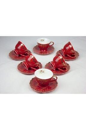 ZucciHome Nostaljik 6'lı Fincan Seti - Kırmızı 1