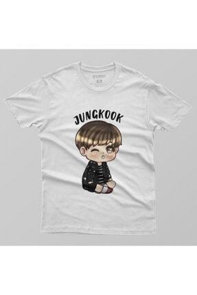 Crazy Bts Cartoon Jungkook Chibi Erkek Tişört 1