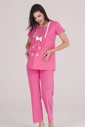 Sevil Giyim Kadın Pembe 4 Düğmeli Fiyonklu Nakışlı Hamile Pijama Takımı 1