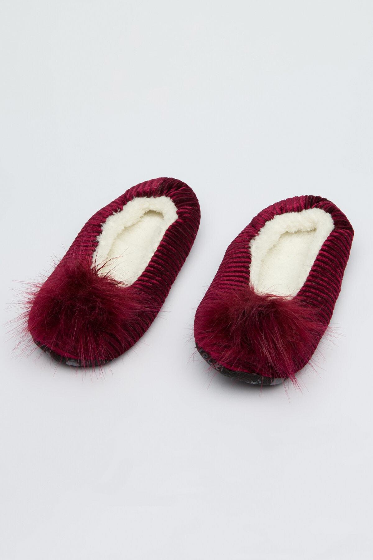 Penti Kadın Burgundy Pom Patik Çorabı 0