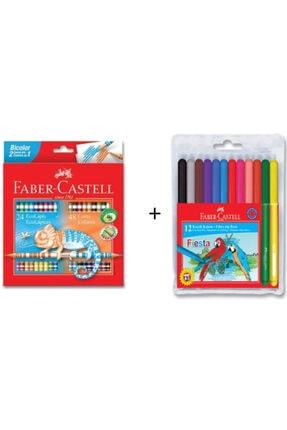 Faber Castell 24+48 Bicolor Kuru Boya + Fiesta 12 Renk Keçeli Kalem 0