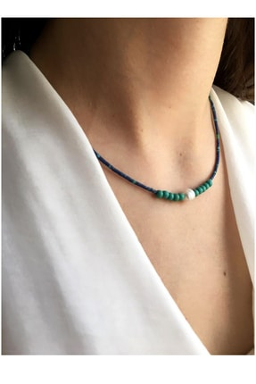 Serpil Jewellery Kadın Lacivert Kırçıllı Afgan Boncuklu Turkuaz Ve Gerçek Incili Doğaltaş Tasarım Kolye 1