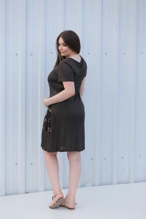 MGS LİFE Kadın, Renkli Cep Detaylı, Koyu Haki Renkli, Büyük Beden Yazlık Elbise 2