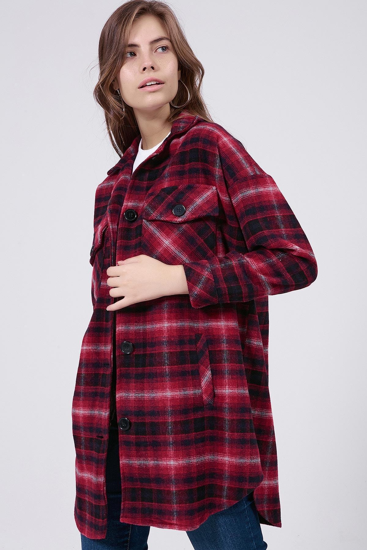 Y-London Kadın Kırmızı Ekoseli Uzun Oduncu Gömlek Ceket Y20W176-11228-1 1