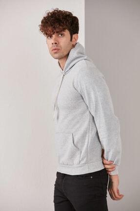 CATSPY Erkek Gri Kapüşonlu Sweatshirt 3