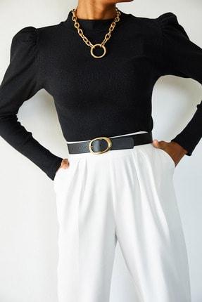 Xena Kadın Siyah Omuzları Büzgülü Bluz 1KZK3-10750-02 2