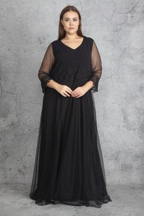 Şans Kadın Siyah Dantel Ve Tül Deyatlı Astarlı Simli Abiye Elbise 65N19350 1