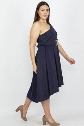 Şans Kadın Lacivert Tek Omuzlu Elbise 65N18975 2