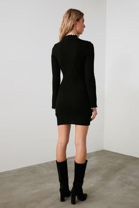 TRENDYOLMİLLA Siyah Fitilli Kol ve Yaka Detaylı Triko Elbise TWOAW21EL2205 3