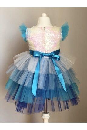 Buse&Eylül Bebe Kız Çocuk Elsa Pul Payet Tütü Etekli  Parti Elbisesi 1