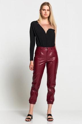 TEREZIE Kadın Bordo Yüksek Bel Paça Detaylı Deri Pantolon 1