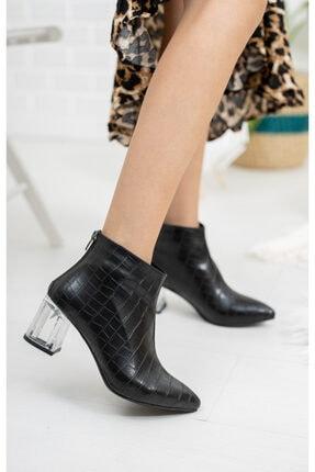 Moda Değirmeni Siyah Kroko Cilt Kadın Şeffaf Topuk Bot Md1050-116-0001 0