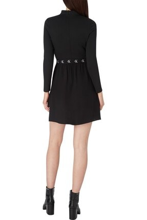 Calvin Klein Kadın Siyah Logo Elastıc Dress Elbise 4