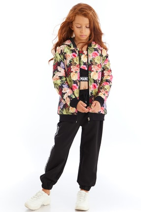 Colorinas Kız Çocuk Siyah Modern Romance Şeritli Pantolon 4