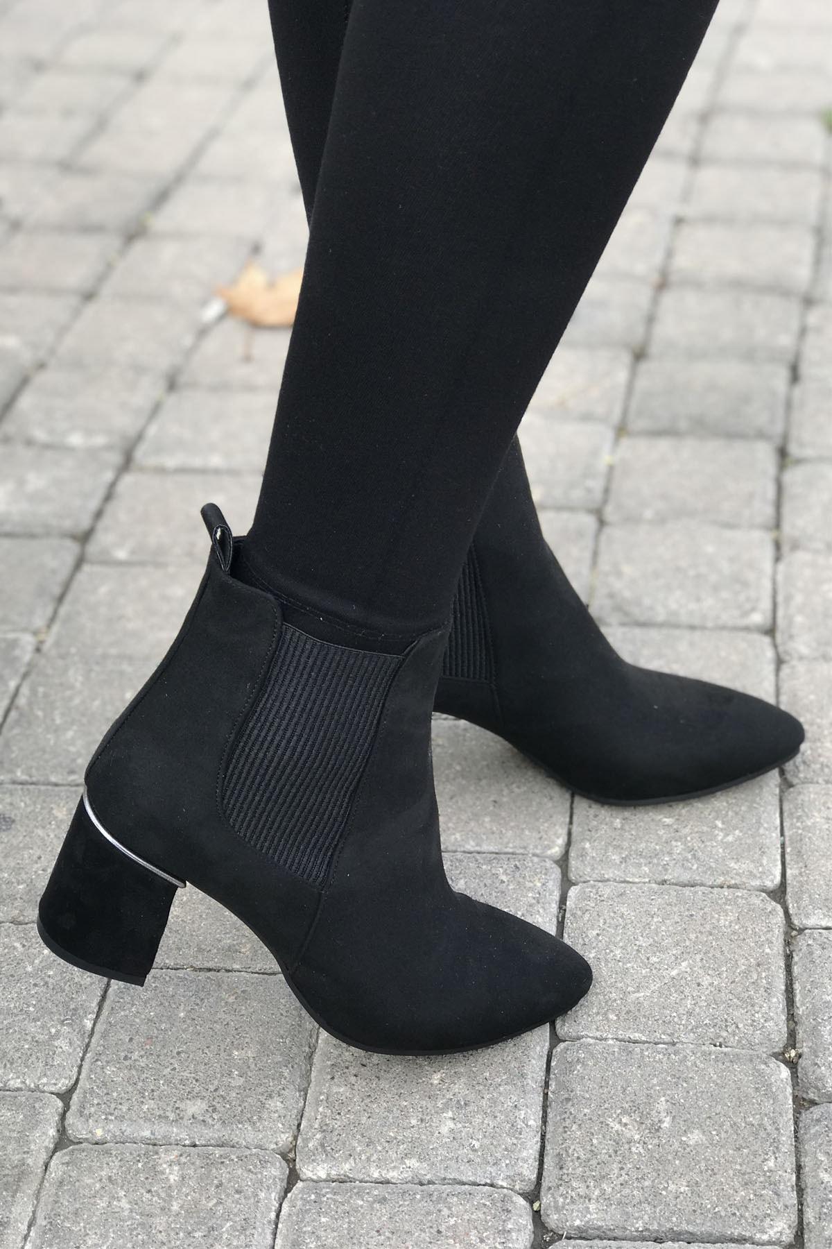 La-Wie Shoes Kadın Siyah Topuklu Bot