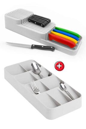 Morpanya Çekmece İçi Kaşıklık ve Bıçaklık Seti Mutfak Çekmece Düzenleyici Organizer Beyaz 0