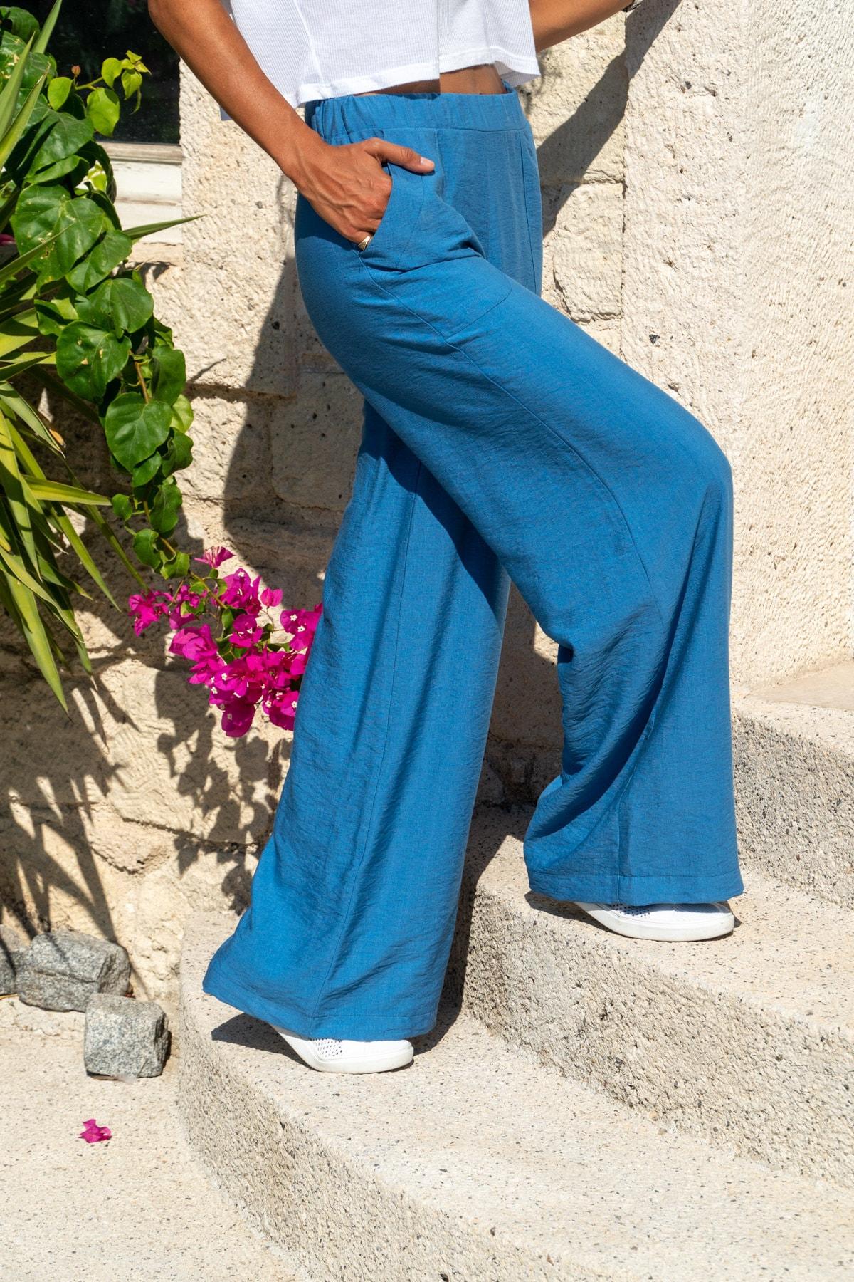 Güneşkızı Kadın İndigo Keten Beli Lastikli Salaş Pantolon GK-BST2933 1