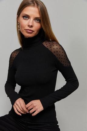 Cool & Sexy Kadın Siyah Omuzları Puantiyeli Tül Bluz EY1098 1