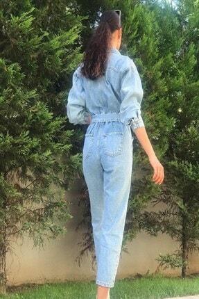 butikgogirl Kadın Mavi Kot Tulum 2