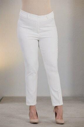 Beyaz Büyük Beden Kumaş Pantolon resmi