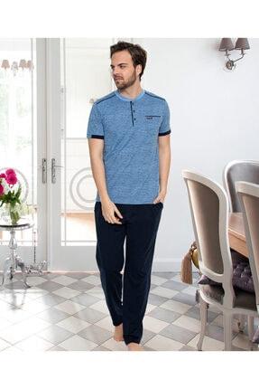 Erkek Lacivert Kısa Kollu Pijama Takımı ERSE413