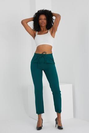 Kadın Zümrüt Yeşili Bağcıklı Cepli Pantolon 1007OCCA