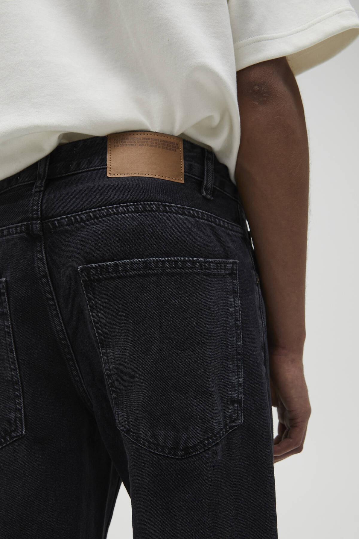 Pull & Bear Erkek Soluk Siyah Vintage Straight Fit Jean 04685522 1