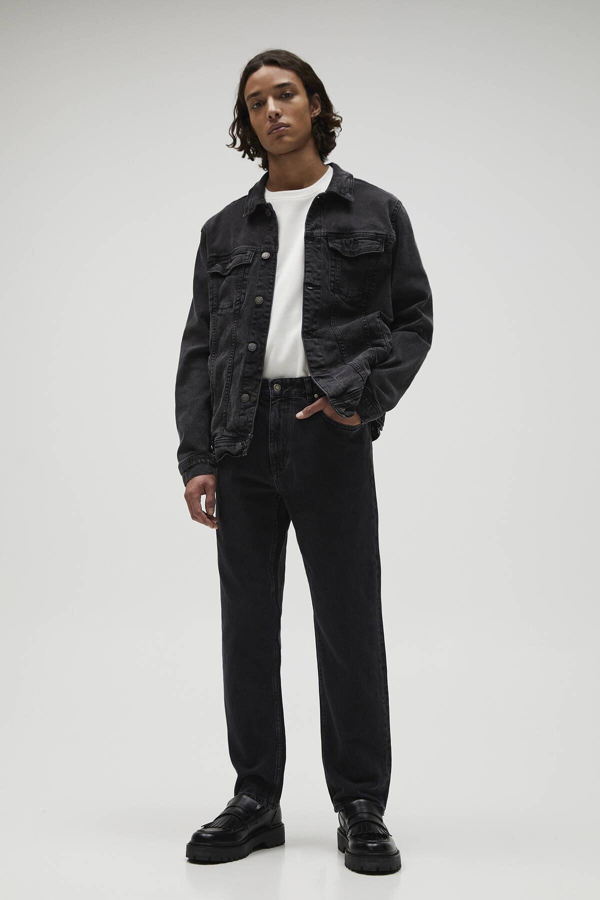 Pull & Bear Erkek Soluk Siyah Vintage Straight Fit Jean 04685522 2