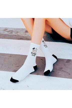BGK Kadın 5 Çift Siyah Beyaz Inek Desenli Çizgili Tenis Çorabı 2