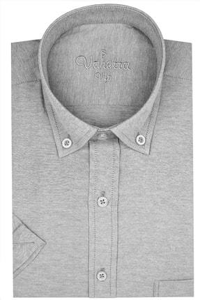 تصویر از Erkek Gri Kısa Kol  Pamuk Saten Yaka Düğmeli  Büyük Beden Gömlek