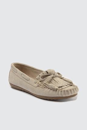 TRENDYOLMİLLA Bej Hakiki Deri Püsküllü Kadın Loafer Ayakkabı TAKSS21LA0001 2