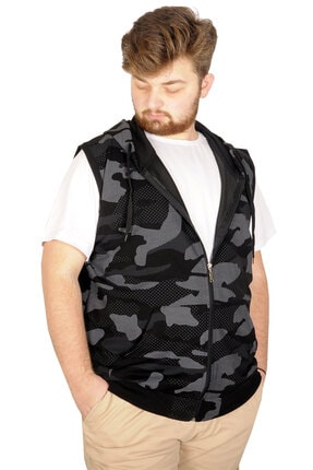 Modexl Battal Beden Erkek Camouflage Yelek 21250 Siyah 2