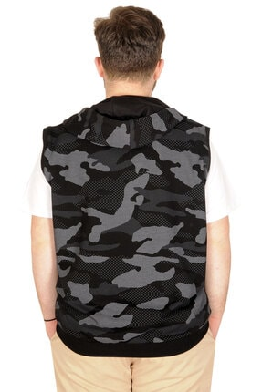 Modexl Battal Beden Erkek Camouflage Yelek 21250 Siyah 4