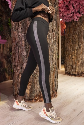 Grenj Fashion Siyah Yanı Gümüş Sim Şerit Detaylı Yüksek Bel Toparlayıcı Tayt 0