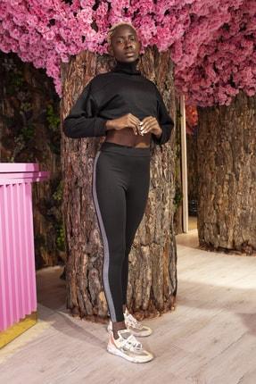 Grenj Fashion Siyah Yanı Gümüş Sim Şerit Detaylı Yüksek Bel Toparlayıcı Tayt 2